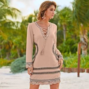 Lace up beaded mini dress